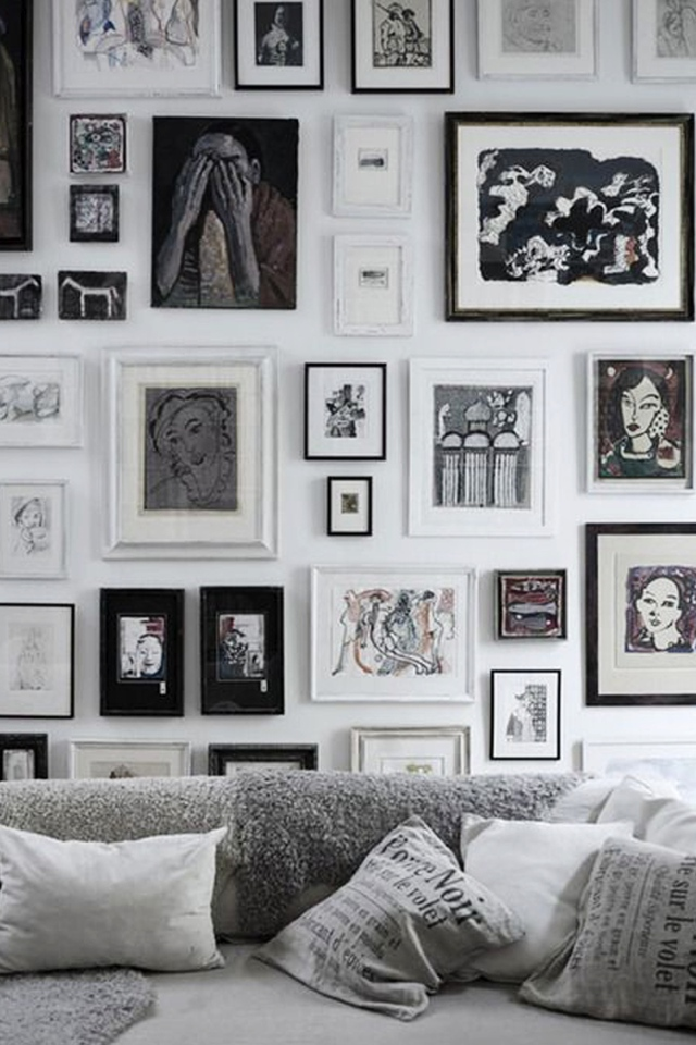 black and white art wall gallery