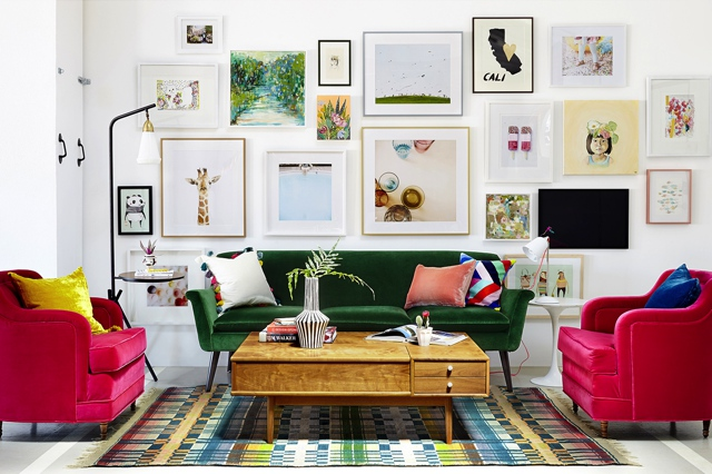 colorfull living room art gallery