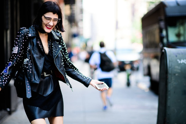 leather jackets with spikes Inspiring New York Fashion Week Street Style