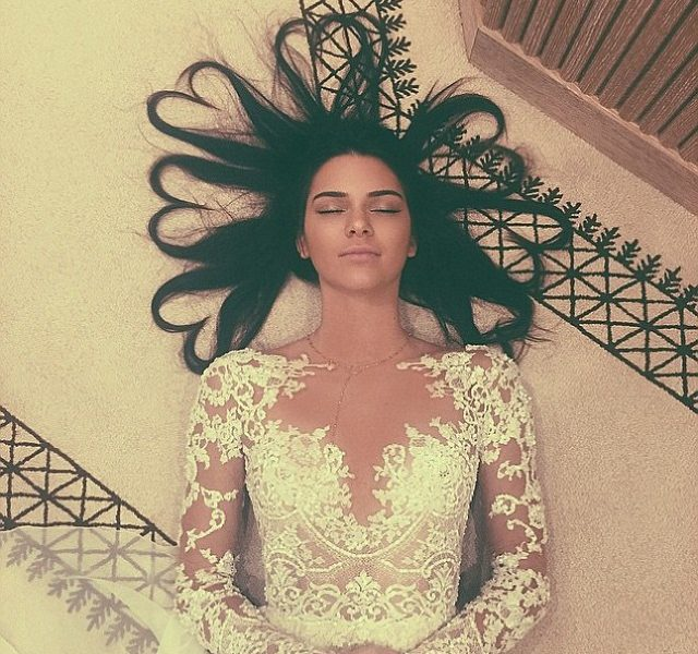 Kendall Jenner wedding dress heart hair
