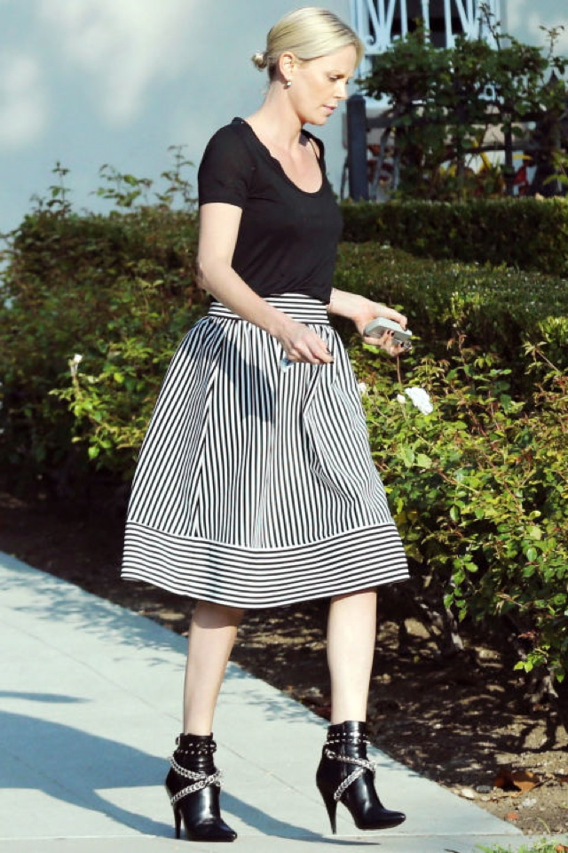 striped skirt cheap celebrity style