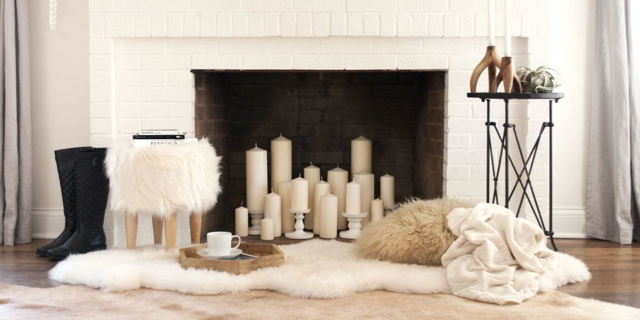 white-candles-fireplace