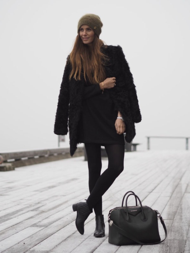 all black fluffy coat