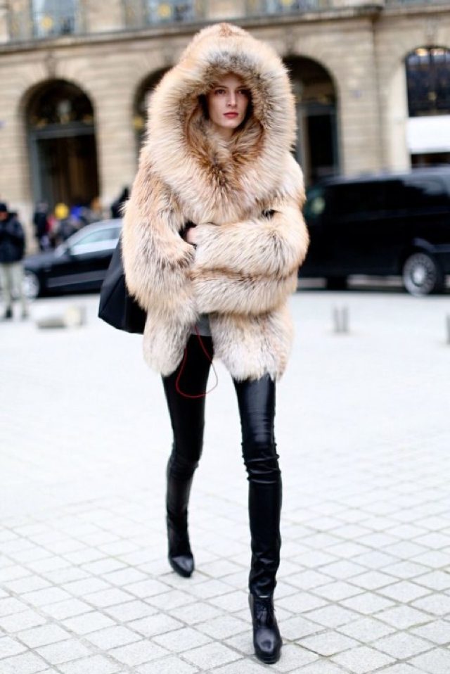 fur coat off duty model style
