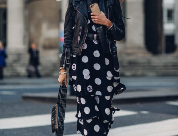 Chanel black polka dot