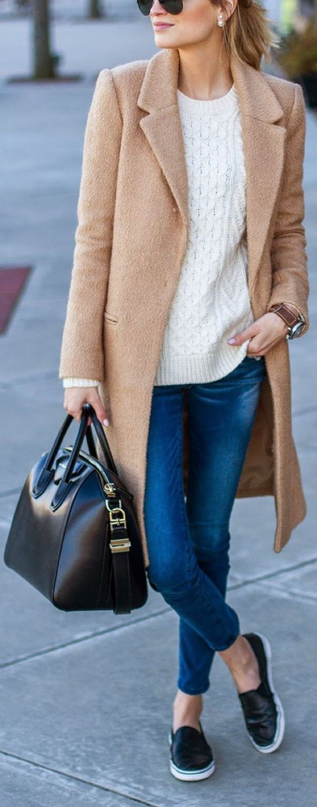 camel coat black sneakers