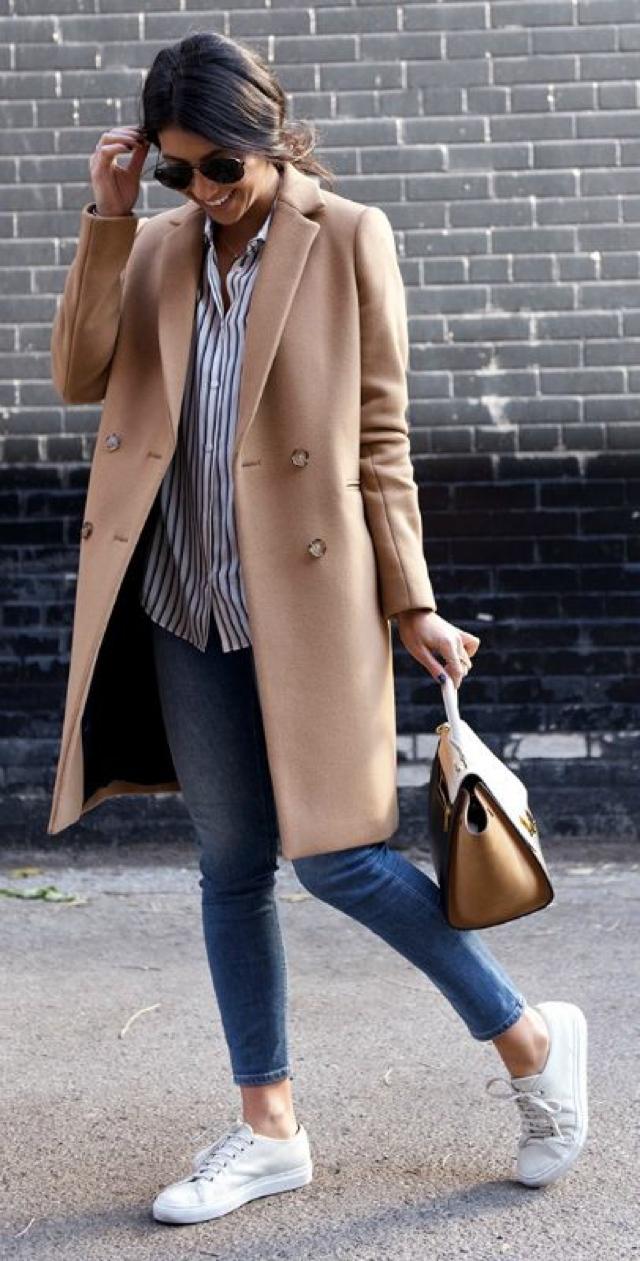 coat sneakers shirt