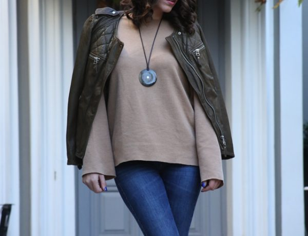 eathy tones winter outfit street style09