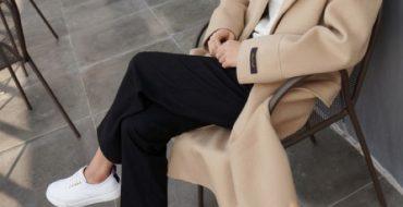 fashion formula sneakers camel coat