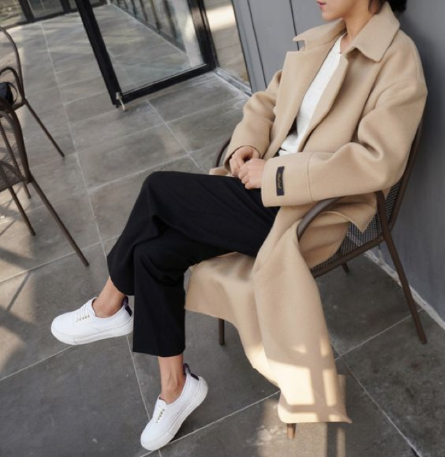 fashion formula sneakers camel coat