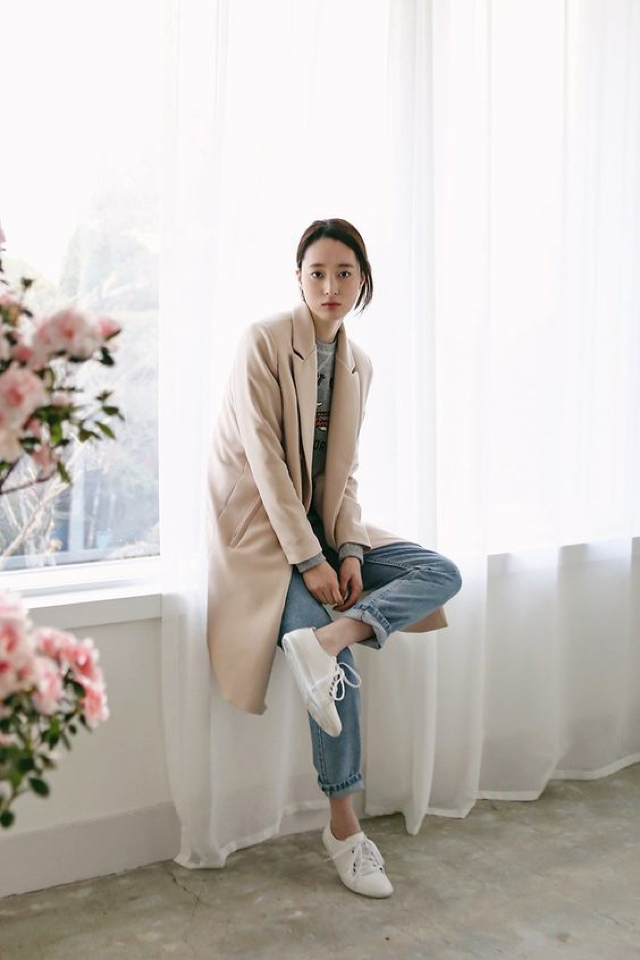 perfection camel coat and sneakers