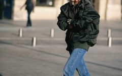 Golden boots jeans bomber jacket
