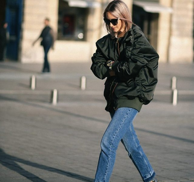Golden boots jeans bomber jacket
