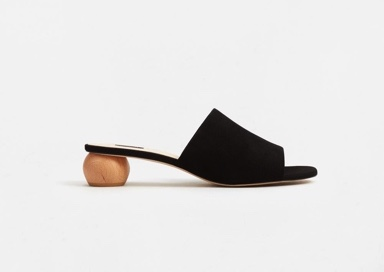 wooden leather mule sandals mango