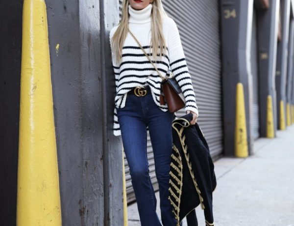high waist jeansatlantic-pacific-nyc-blog-street-style-stripe-stripes-band-jacket-gucci-bag-denim-jeans-768×1152