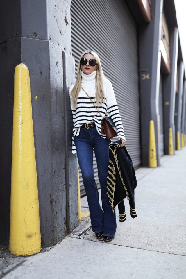 high waist jeansatlantic-pacific-nyc-blog-street-style-stripe-stripes-band-jacket-gucci-bag-denim-jeans-768x1152