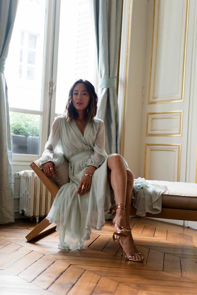 nude shoesaimee_song_of_style_paris_fashion_week_chloe_dress_chloe_heels_