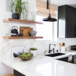 Stylish Kitchen // 7 Natural Wood Floating Shelves Ideas
