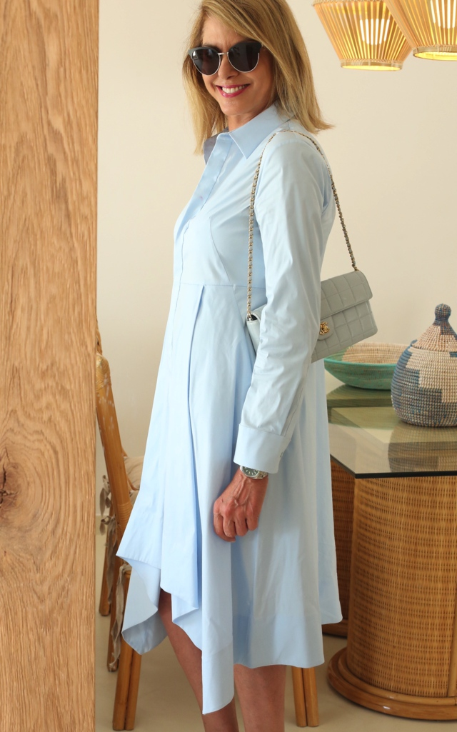 COS shirtdress Chanel baby blue bag Trendsurvivor Nina Papaioannou00