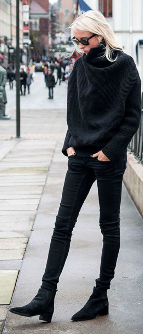 black turtleneck skinny jeans