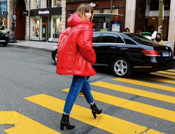red puffer jacket