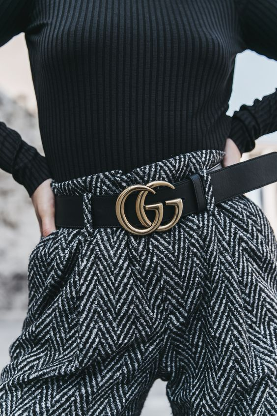 Gucci logo belt high waist