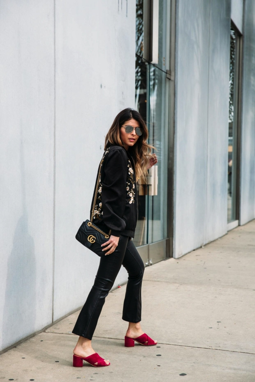 How to wear kick flare leather pants