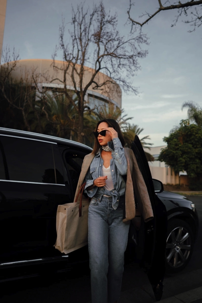 Aimee_song_of_style_denim_on_denim_saint_laurent_sunglasses_ysl_tote_bag_grlfrnd_jeans_j_crew_button_down_rag_and_bone_plaid_blazer