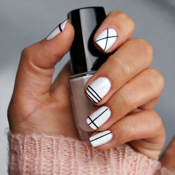 Nail Art Geometric black white