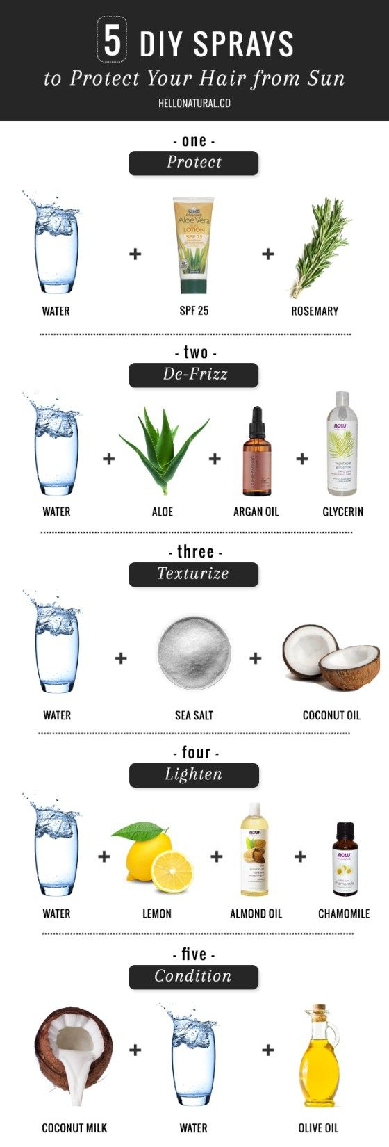 5 diy sprays to protect your hair from the sun
