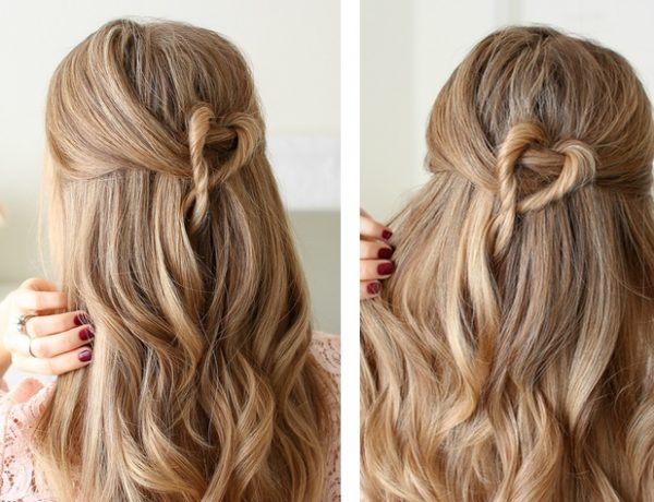 Half Up Twisted Heart Hairstyle