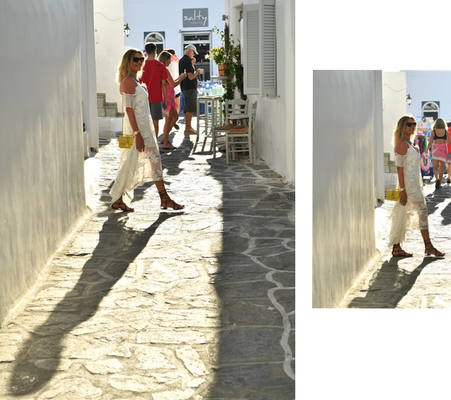 Paros Island, white dress