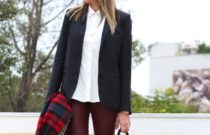 All Day // Blazer + red leather pants