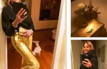 Dinner Time // Gold leather pants + black