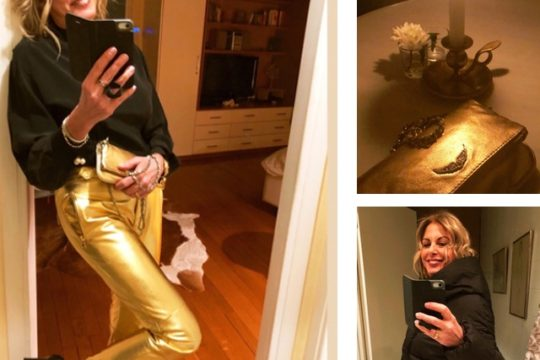 Nina papaioannou HM X Moschino gold leather pants